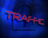 Traffic against lock on digital background