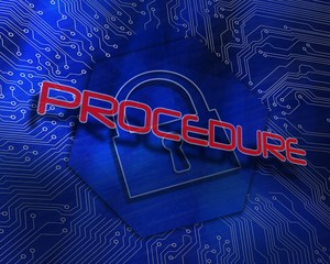 Procedure against lock graphic on blue background