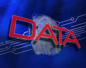 Data against fingerprint on digital blue background