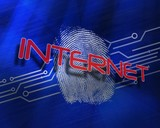 Internet against fingerprint on digital blue background