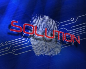 Solution against fingerprint on digital blue background