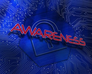 Awareness against lock graphic on blue background