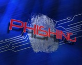 Phishing against fingerprint on digital blue background