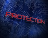 Protection against blue technology background