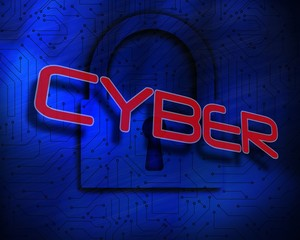 Cyber against lock on digital background