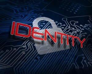 Identity against white digital padlock over circuit board