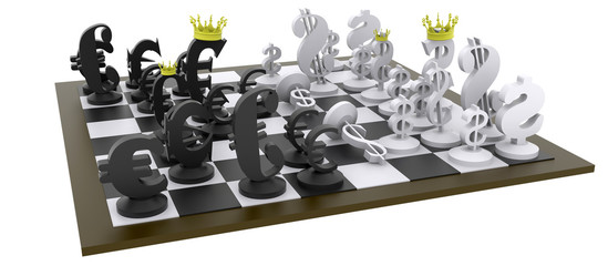 Euro dollar chess game black-white brown chess table