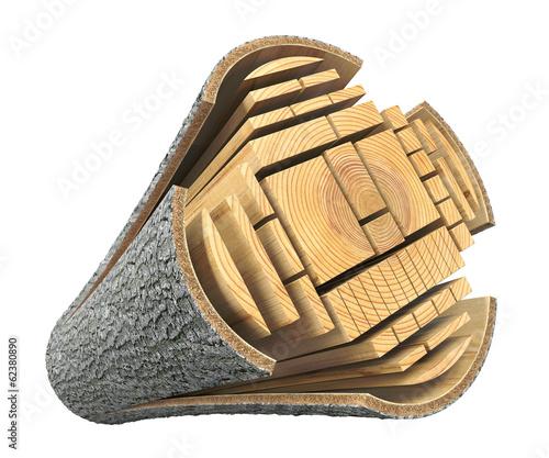 Leinwanddruck Bild Lumber from the log
