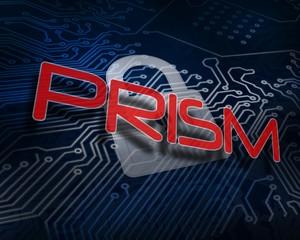 Prism against white digital padlock over circuit board
