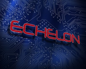 Echelon against blue technology background