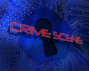 Crime scene against keyhole graphic on blue background