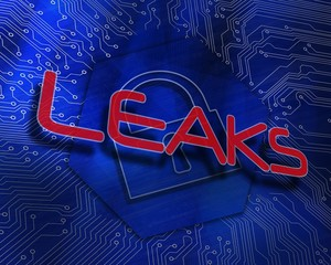 Leaks against lock graphic on blue background