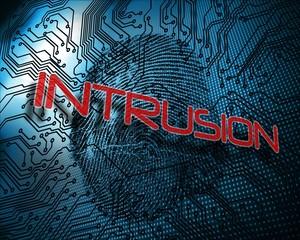 Intrusion against illustration of blue fingerprint