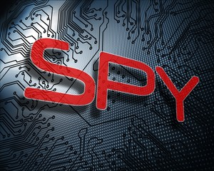 Spy against illustration of circuit board