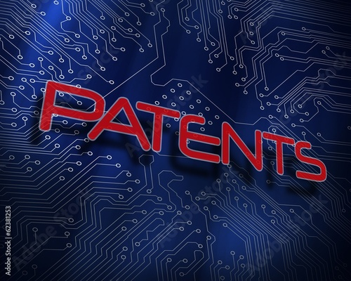 Patents against blue technology background