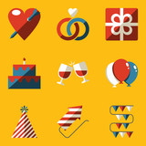 Flat icon set. Holiday. Love