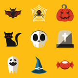 Flat icon set. Halloween