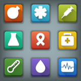 Flat icon set. White Symbols. Medical