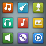 Flat icon set. White Symbols. Music
