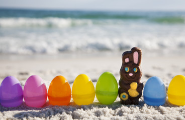 Chocolate Rabbit and easter eggs