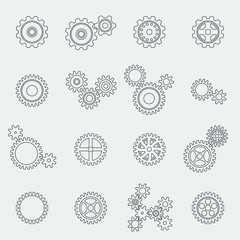 Cogs wheels and gears pictograms