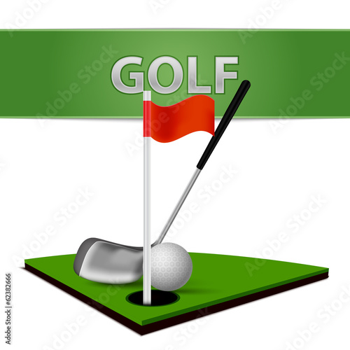 Golf Ball Club and Green Grass Emblem
