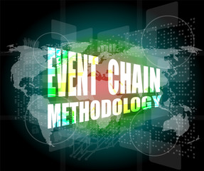 event chain methodology word on business digital touch screen