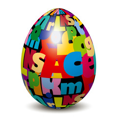 easter egg with alphabet letters pattern