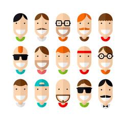 Happy smiling male faces set, flat design, vector illustration