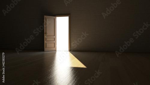 canvas print picture Geöffnete Tür führt ins Licht