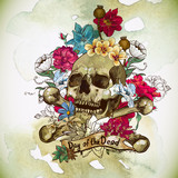 Skull and Flowers Vector Illustration
