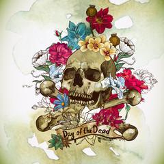 Skull and Flowers Vector Illustration