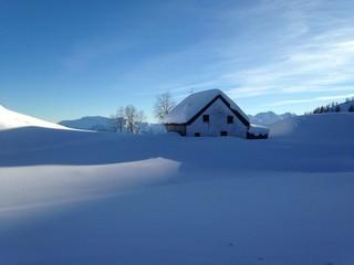 baita con pini e lago ghiacciato