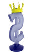 3D blue dollar sign with a crown