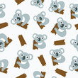 Seamless pattern with koalas. Vector illustration.