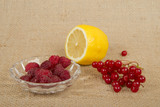 First aid for flu. Raspberry, lemon, cranberry