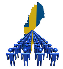 Lines of people with Sweden map flag illustration