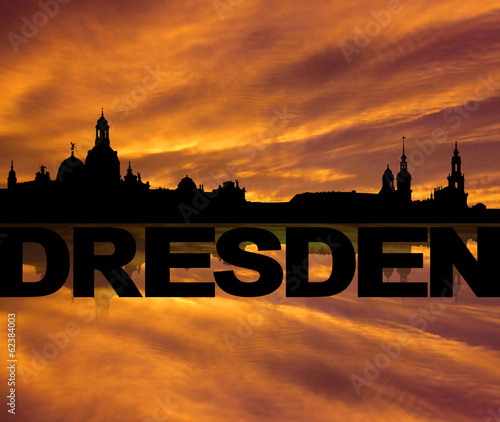 Dresden skyline reflected with text sunset illustration