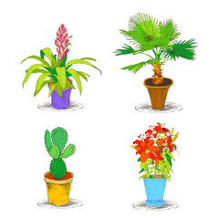 Decorative Office Flower Icons Set