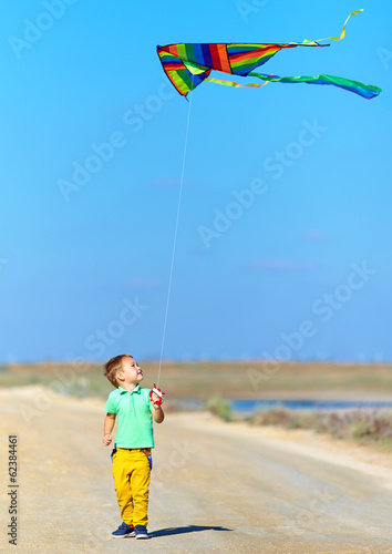 happy boy playing with kite on summer field