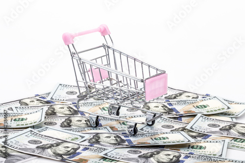 an empty shopping cart on money background