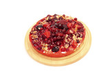 Image of appetizing berry tart on cutting board