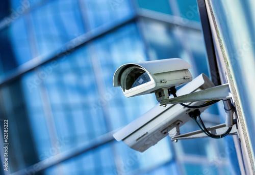 Leinwandbild Motiv security camera and urban video