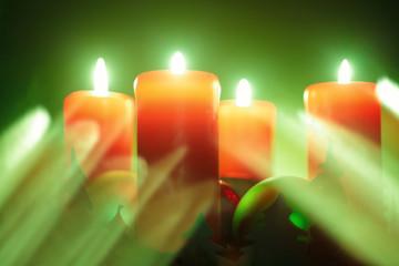 Advent lights series. Orange and green.