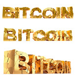 Bitcoin - damaged text - isolated on white