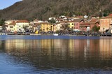 View of the Porto Ceresio on the lake of Lugano