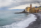 church and seaside in Camogli, Italy
