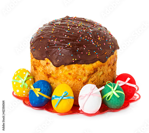 Easter cake and easter eggs isolated