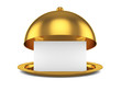 Golden opened cloche with paper template