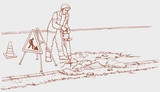 Vector drawing. Roadworks. Construction worker with jackhammer
